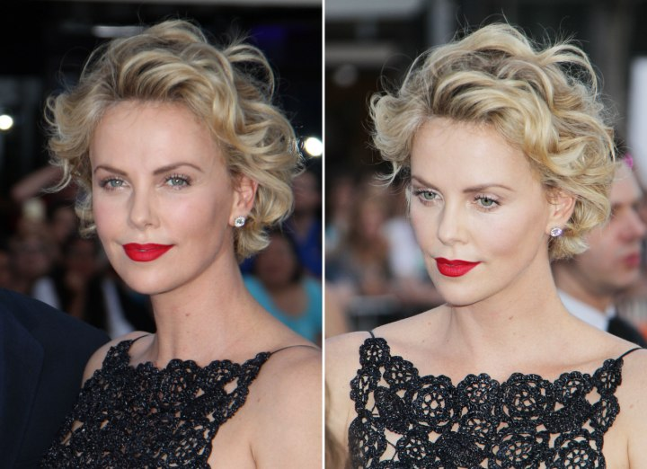 Charlize Theron Short Curled Hairstyle With The Hair