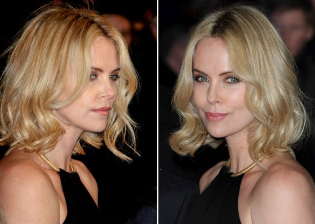charlize theron | trendy bob haircut with variations of blonde