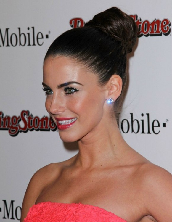 Jessica Lowndes Wearing Her Hair Up In A Roll