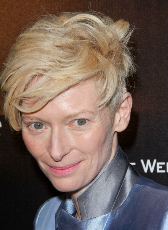 Tilda Swintons Mop Top Hairstyle With Clipped Sides
