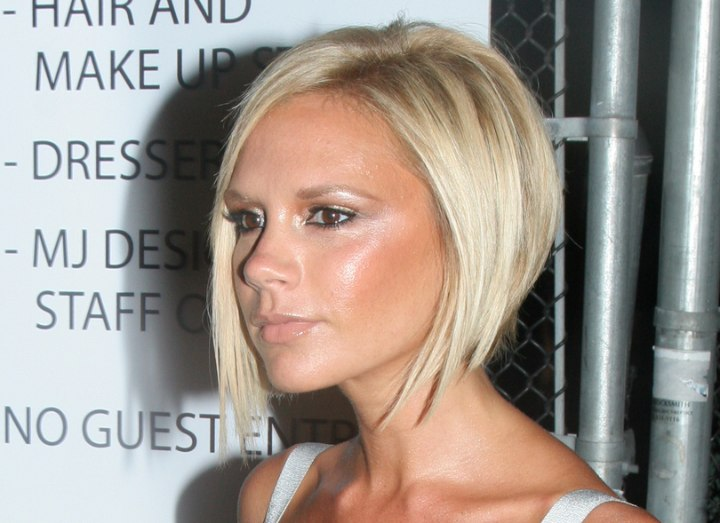 Victoria Beckham Sporting A Blonde Bob With A Shorter Back
