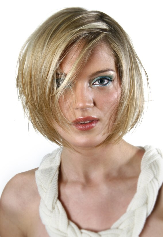 Short Bob Hairstyle With An Irregular Side Part And