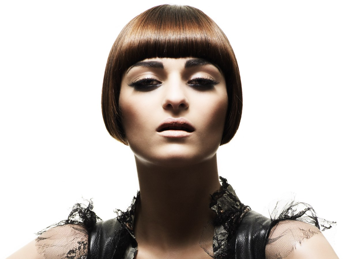 Bob Hairstyle Cut To Lay Just Over The Ears