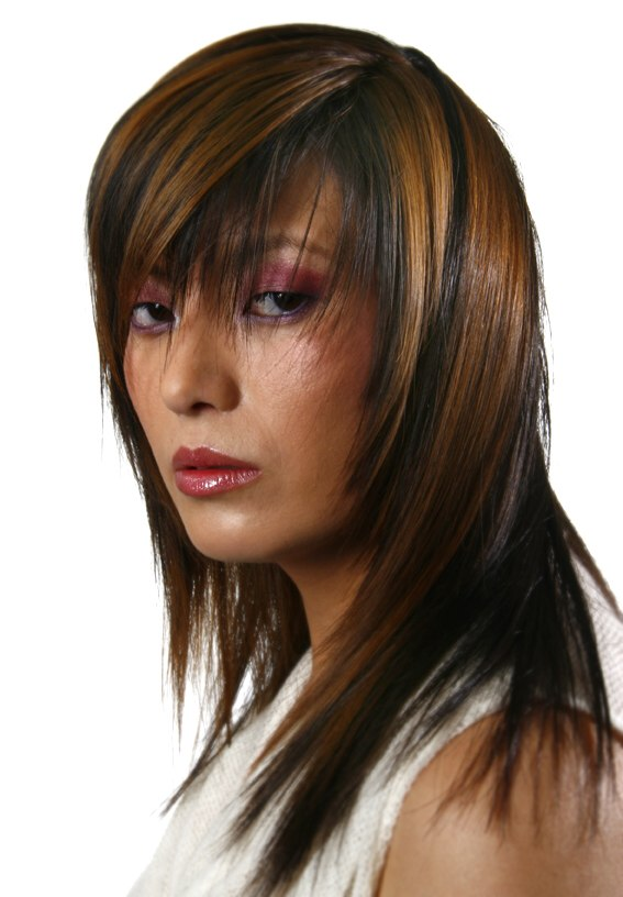 Long Hairstyle With Streaks And Long Bangs With A Peek A