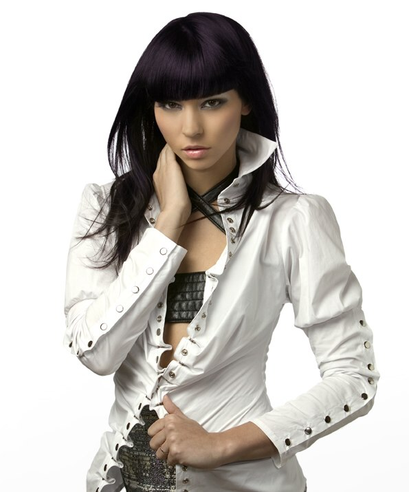 Long Blue Black Hair With A Heavy Fringe And An Aubergine