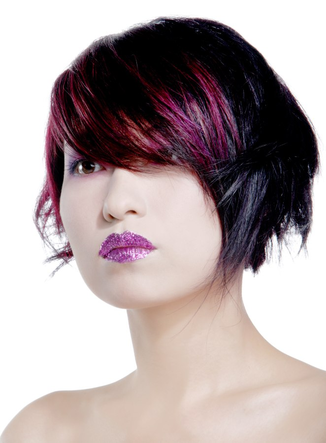 Layered Short Bob With Colorful Highlights