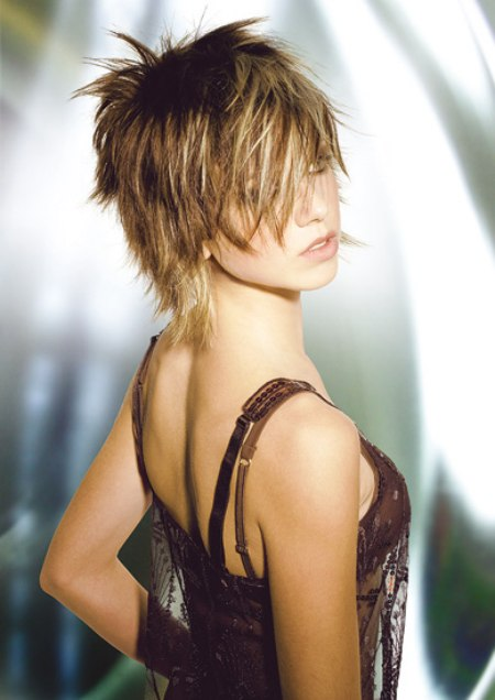 Shaggy Short Hairstyle With Layers And A Medium Long Neckline
