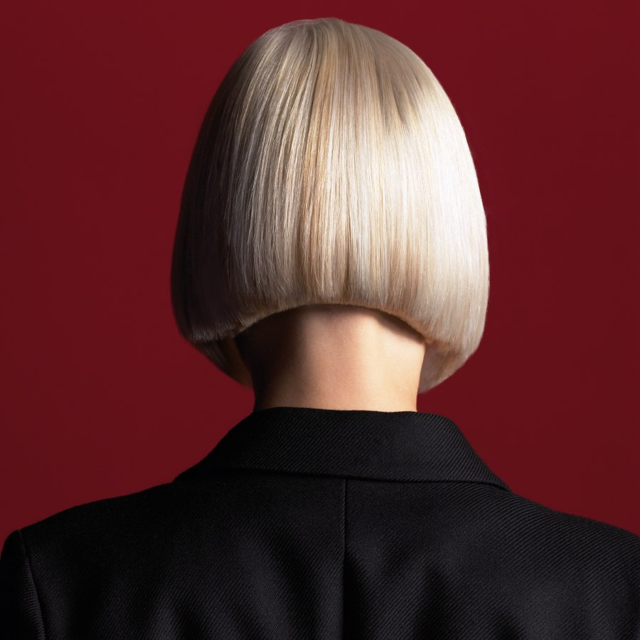 Bob Cut With Perfection A Concave Neck And Square Bangs