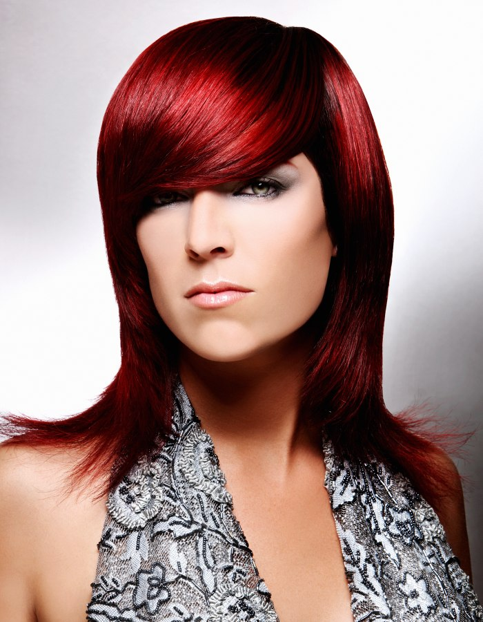 Long Red Hair With Outward Turned Tips And A Heavy Rounded