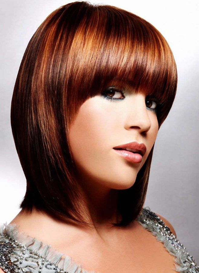 Medium Length Shiny Bob Hairstyle With A Curve That