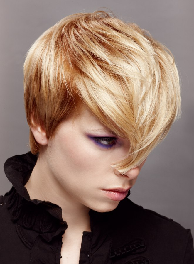 New Short Hairstyle With Darker Roots Side View