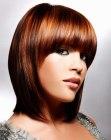mid length glossy hair