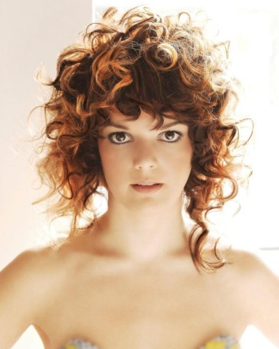 Asymmetrical Curly Hair With Round Curls And Spiraled Curls