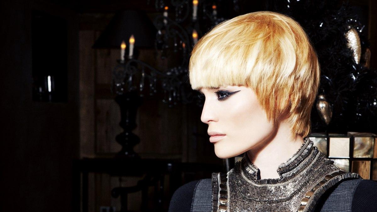 Short Geometric Fashion Haircut With Straight Bangs