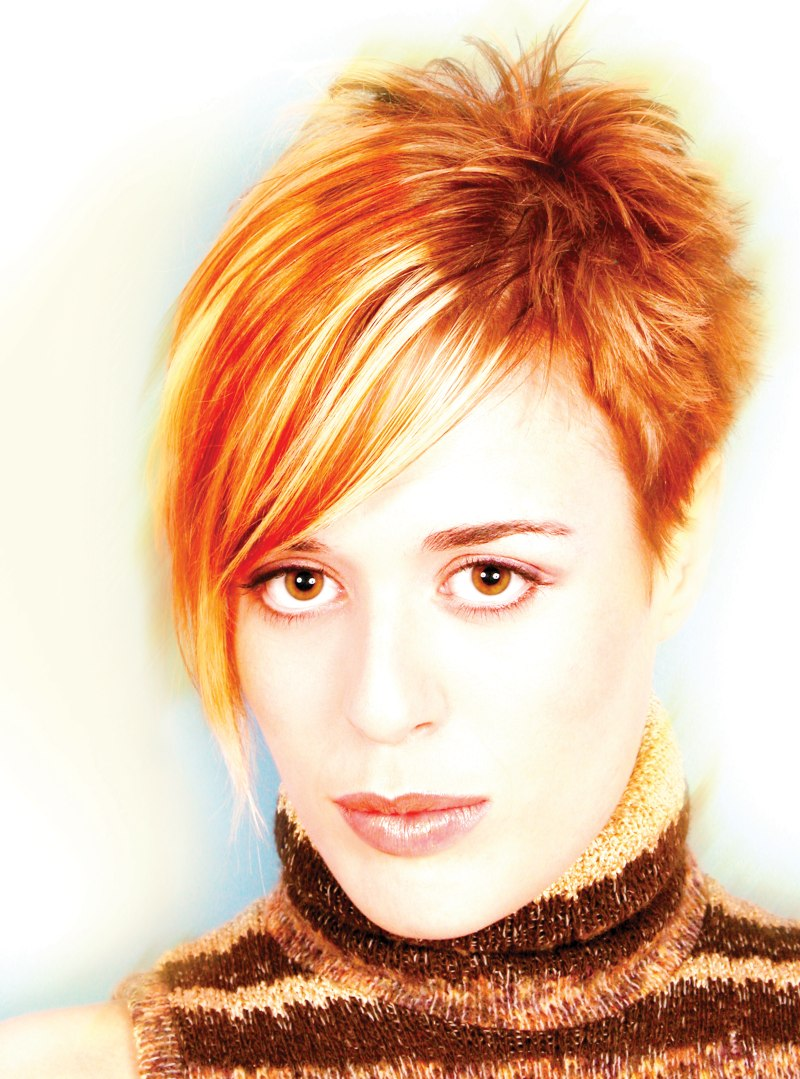 Short Hair With Spikes And A Combination Of Blonde And Copper