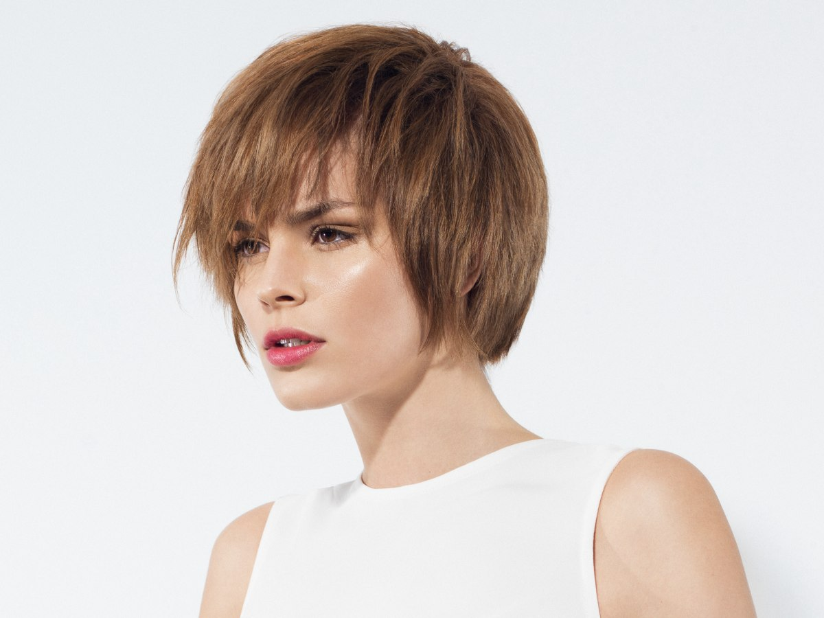 Jaw Length Bob With Layering All Around And A Fringe