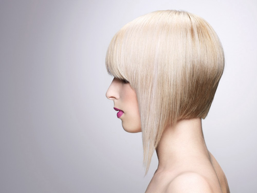 Blonde A Line Bob Haircut With One Extended And Pointy Length