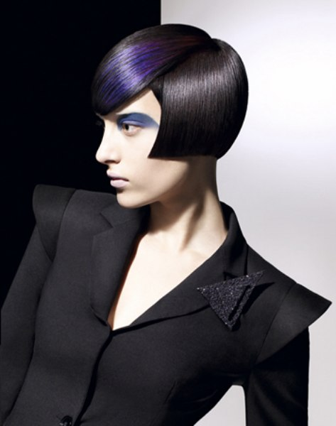 Extreme Cheekbone Short Bob With Blue Hair Coloring