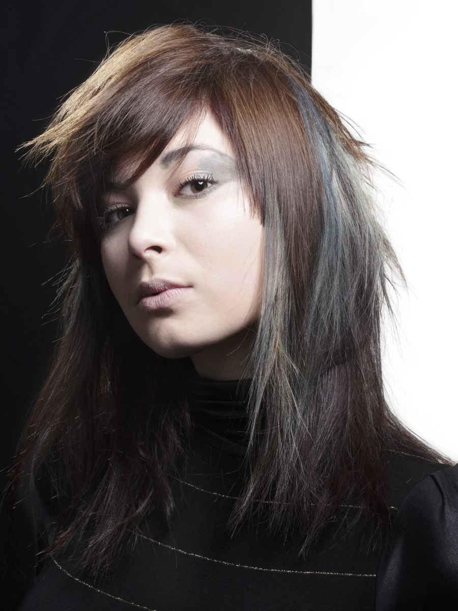 Hair With Colored Layers Combining Brown And Charcoal