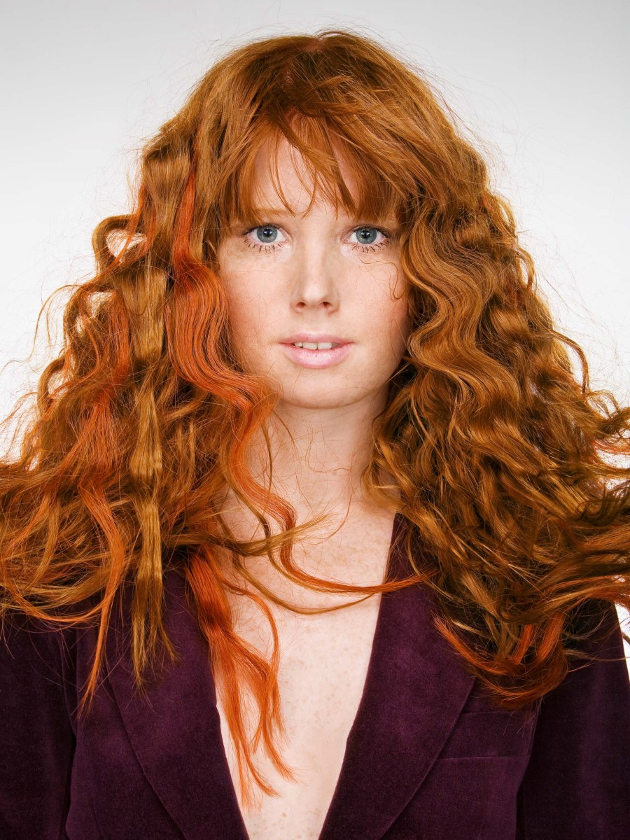 Long Red Hair With Large Pressed Waves