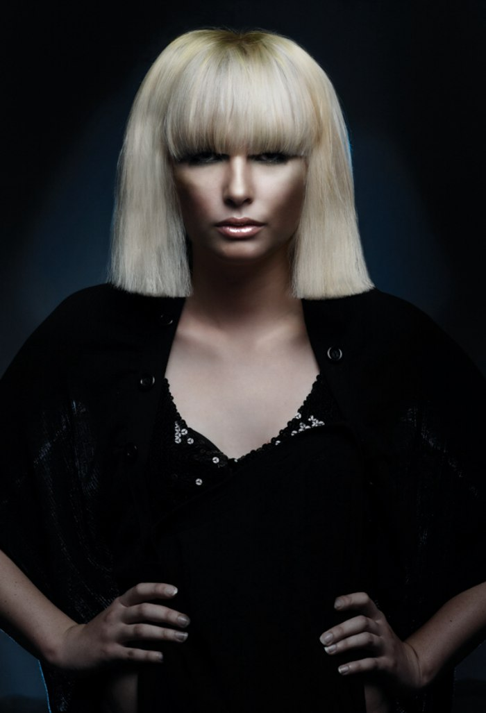 Platinum Blonde Bob With A Straight Cutting Line For Thick