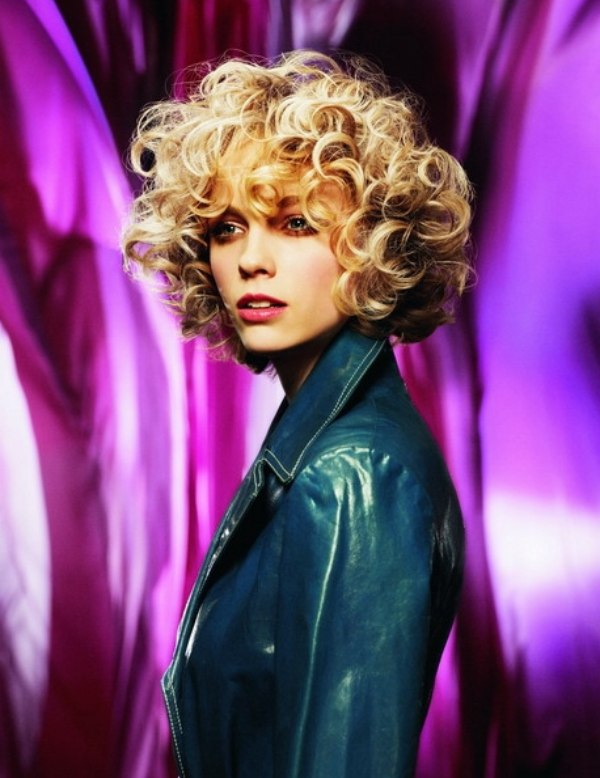 Short Hairstyle With Blonde Bouncy Curls Around The Head