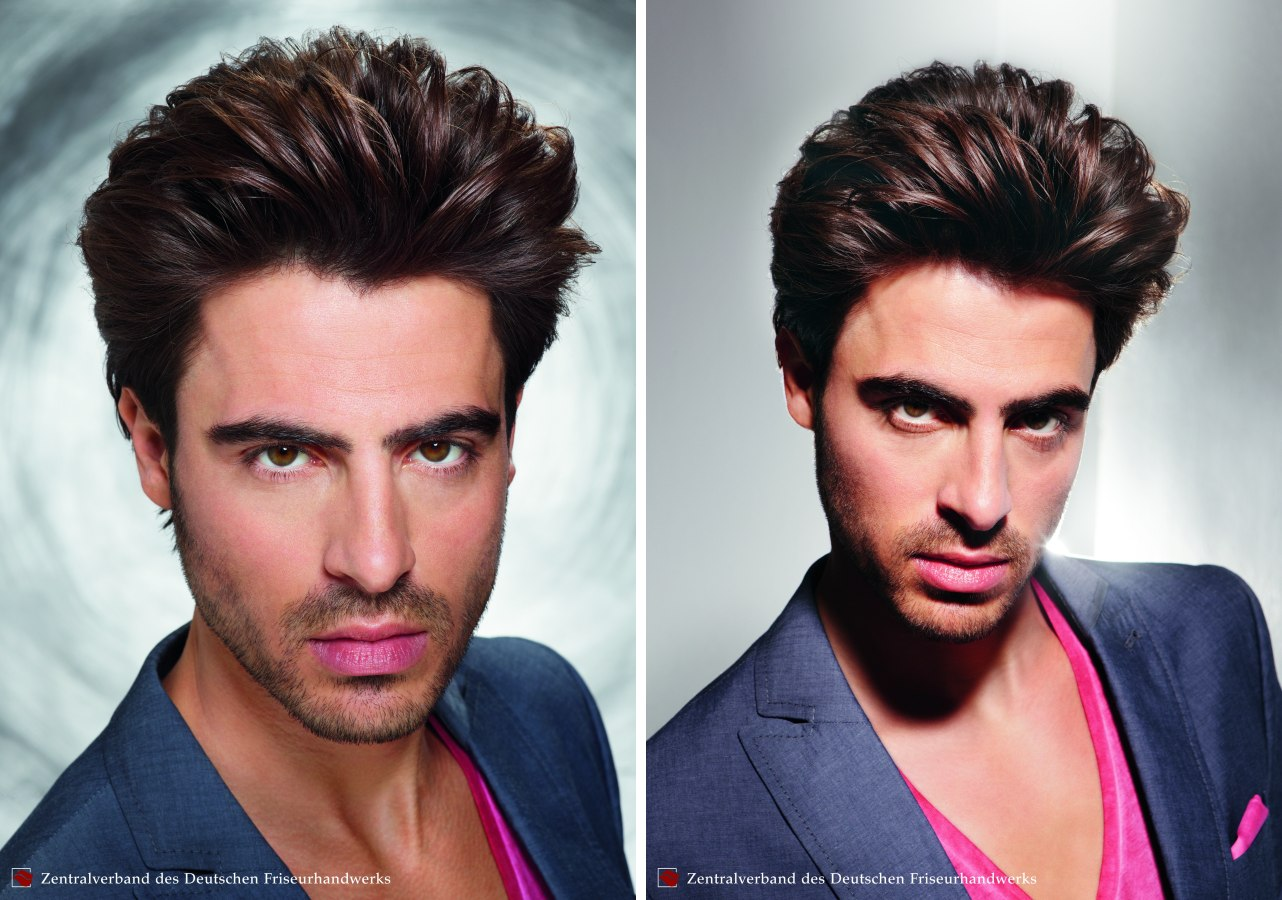 Mens Hair Curved Backward Over A Round Brush Facial