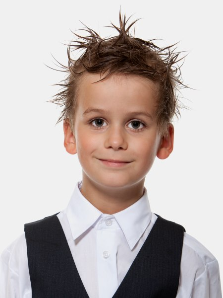 Short Haircut With Punk Gel Styling For Little Boys