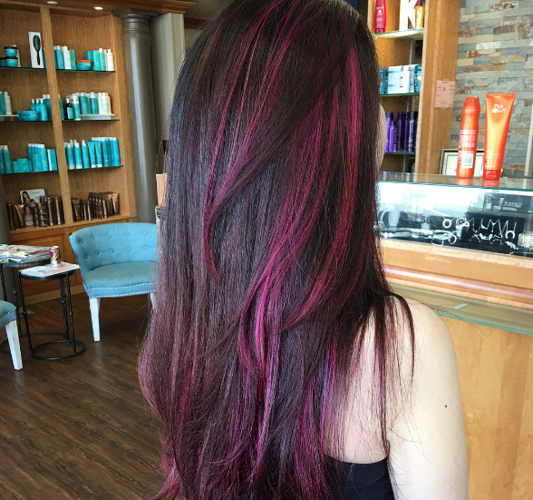 Pink And Purple Highlights On Brown Hair - hair coloring