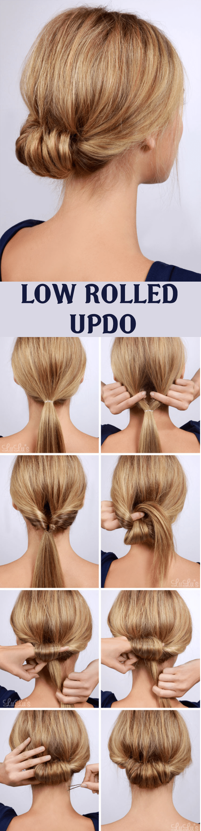 LOW ROLLED UPDO HAIRSTYLE