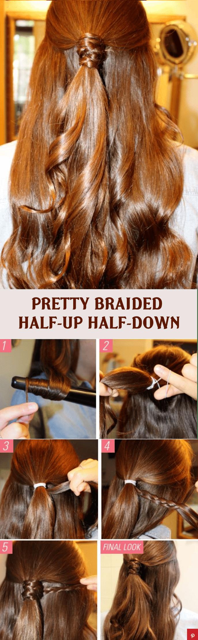 PRETTY BRAIDED half up half down hairstyle