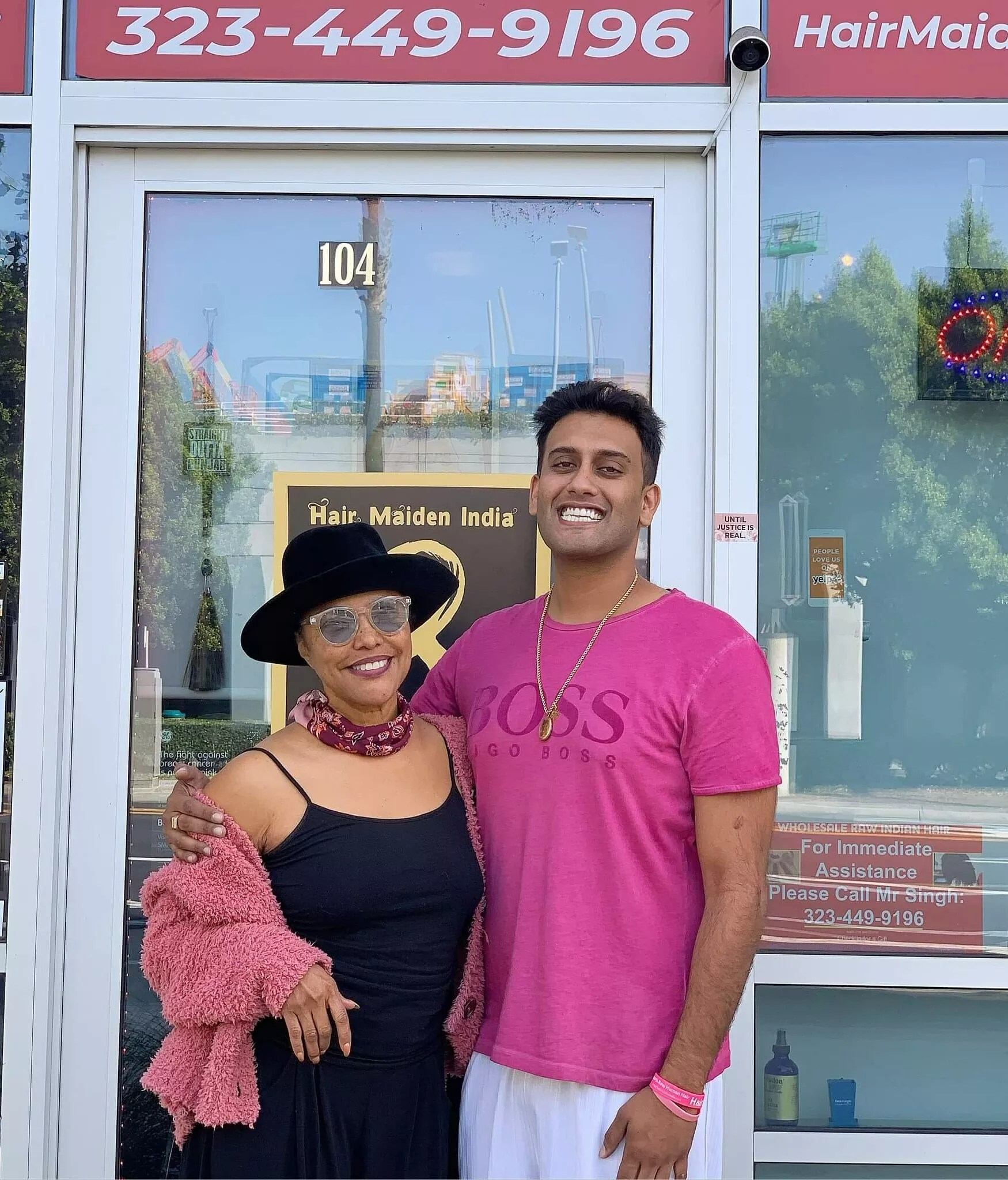 Actors Lynn Whitfield from Greenleaf and Rocky Singh Kandola from Castles in the Air in Los Angeles in front of the Hair Maiden India showroom