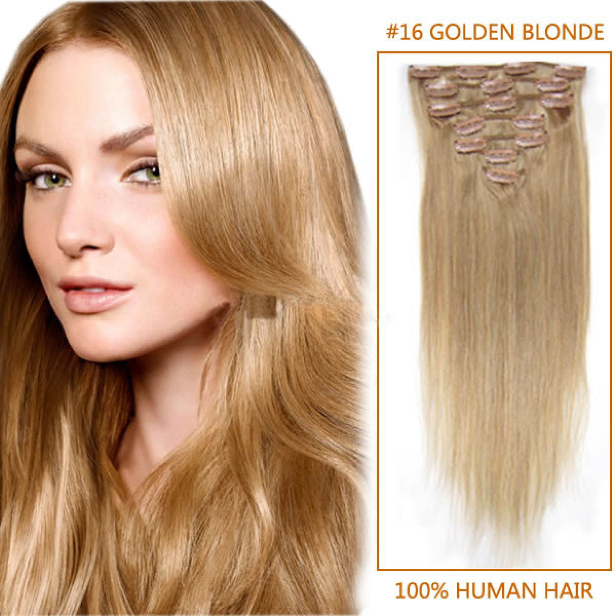 15 Inch 16 Golden Blonde Clip In Human Hair Extensions 12pcs