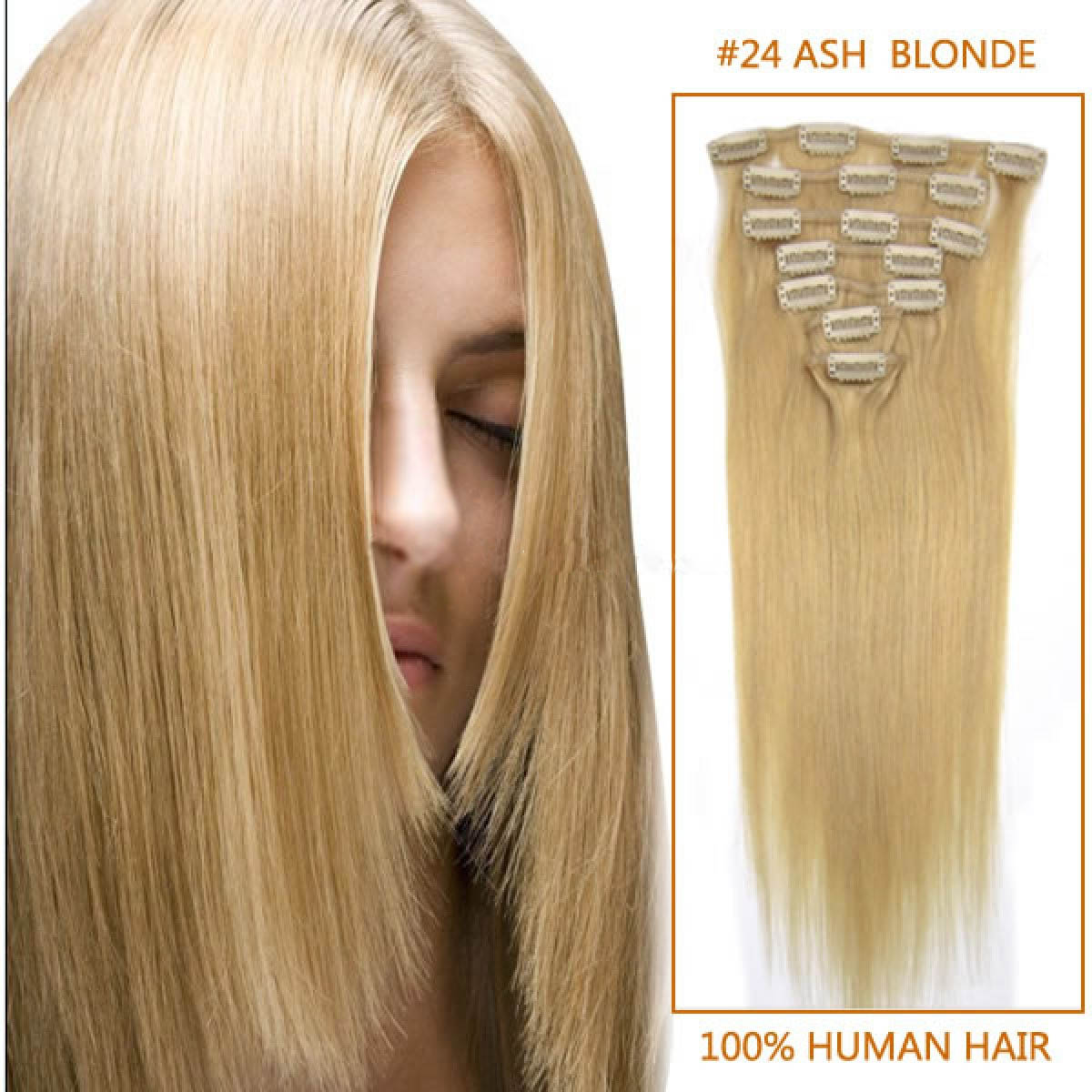 30 Inch 24 Ash Blonde Clip In Remy Human Hair Extensions 9pcs