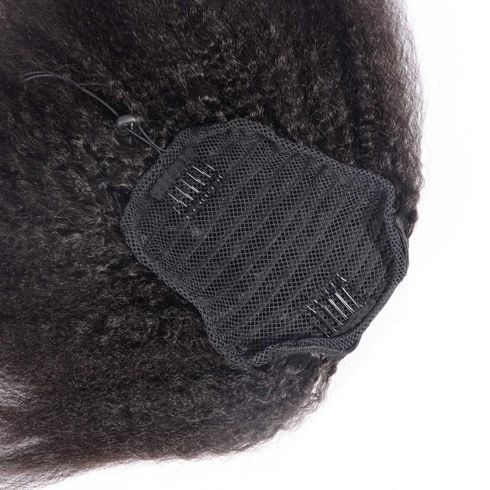 8 26 Inch Kinky Straight Ponytail Human Hair Drawstring