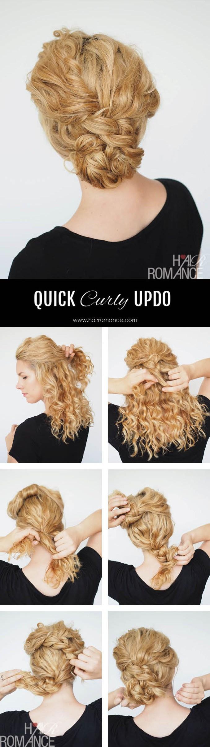 2 min updo for curly hair - hair romance