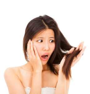 shocked woman watching the damage hair