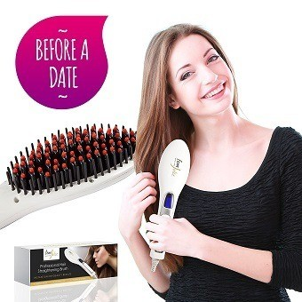 FemJolie Electric Hair Straightener Brush Best for Beauty Styling