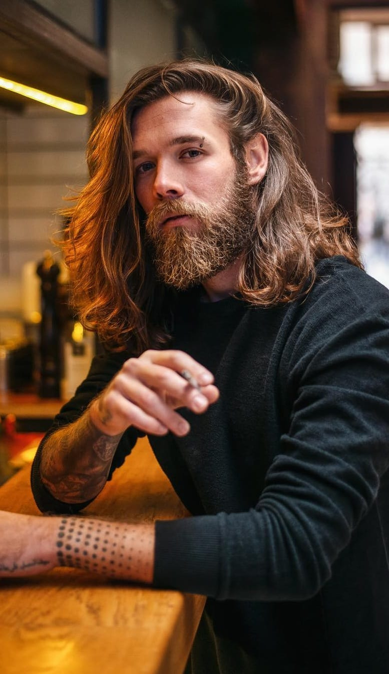 Long Hair Beard look for Men