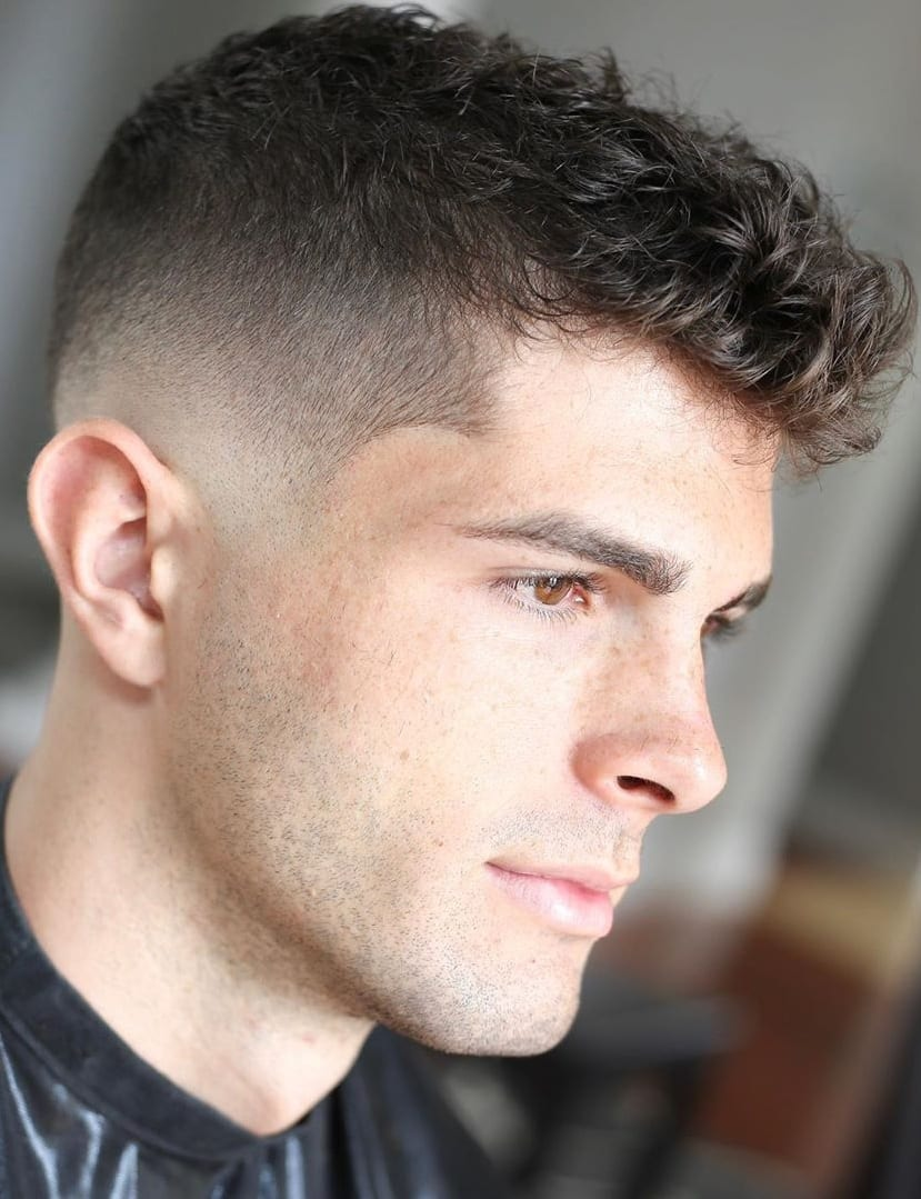 Curly Hairstyles With Side Fade For Men