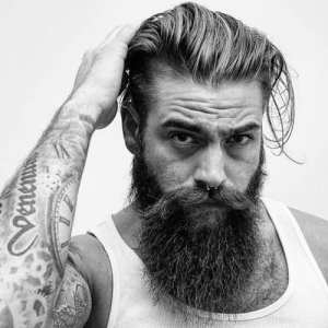 Hipster Long Slick Back with Long Full Beard