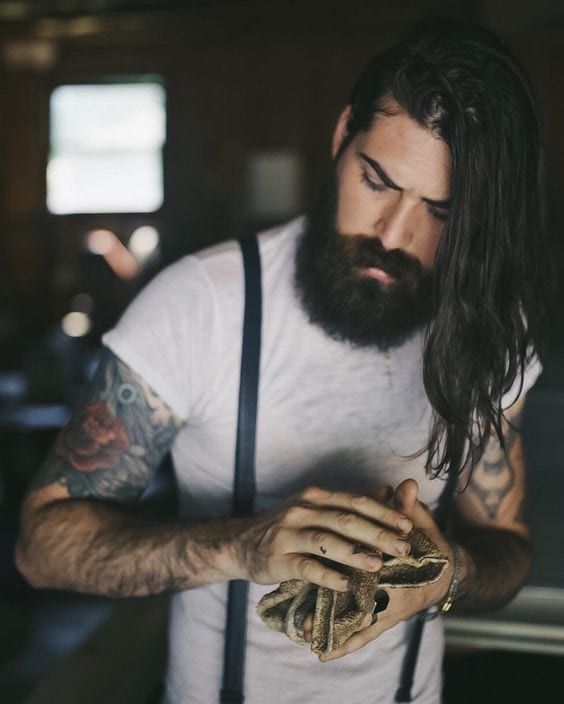 Hipster With A Long Hair & Beard