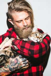 the cat person with hippy haircut