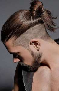 Back Fade Hairstyle For Men With Manbun