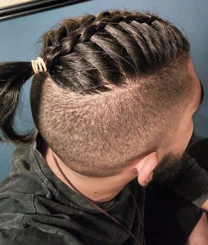 Fade Combinations Fade Haircut with Braided Bun.