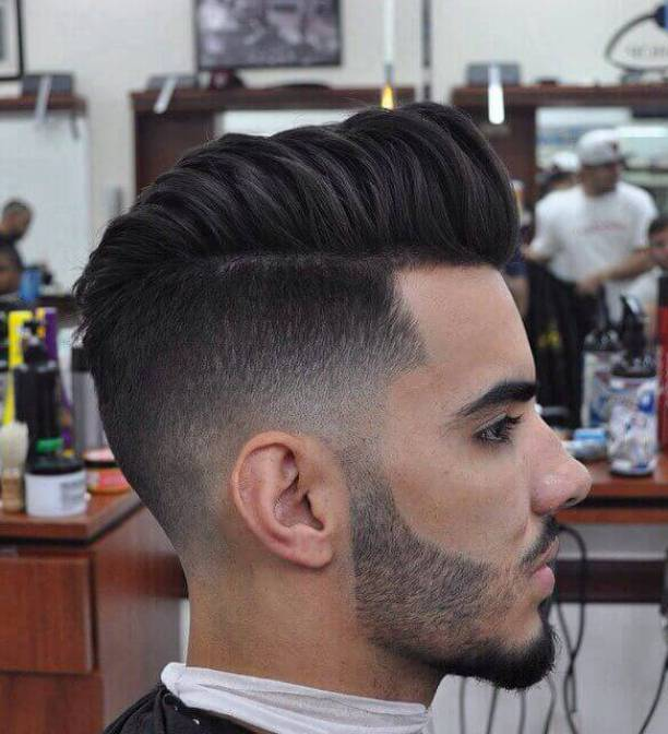 mens pompadour hairstyles fade