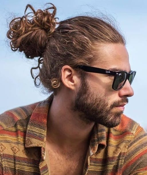 High-man-bun-hairstyles-for-curly-hair