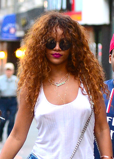 Rihanna Real and Curly Hair