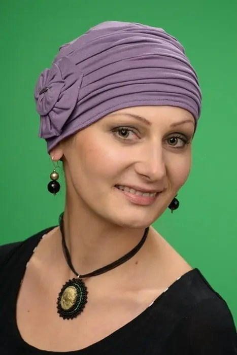 Turban Retro Kwiat Purple