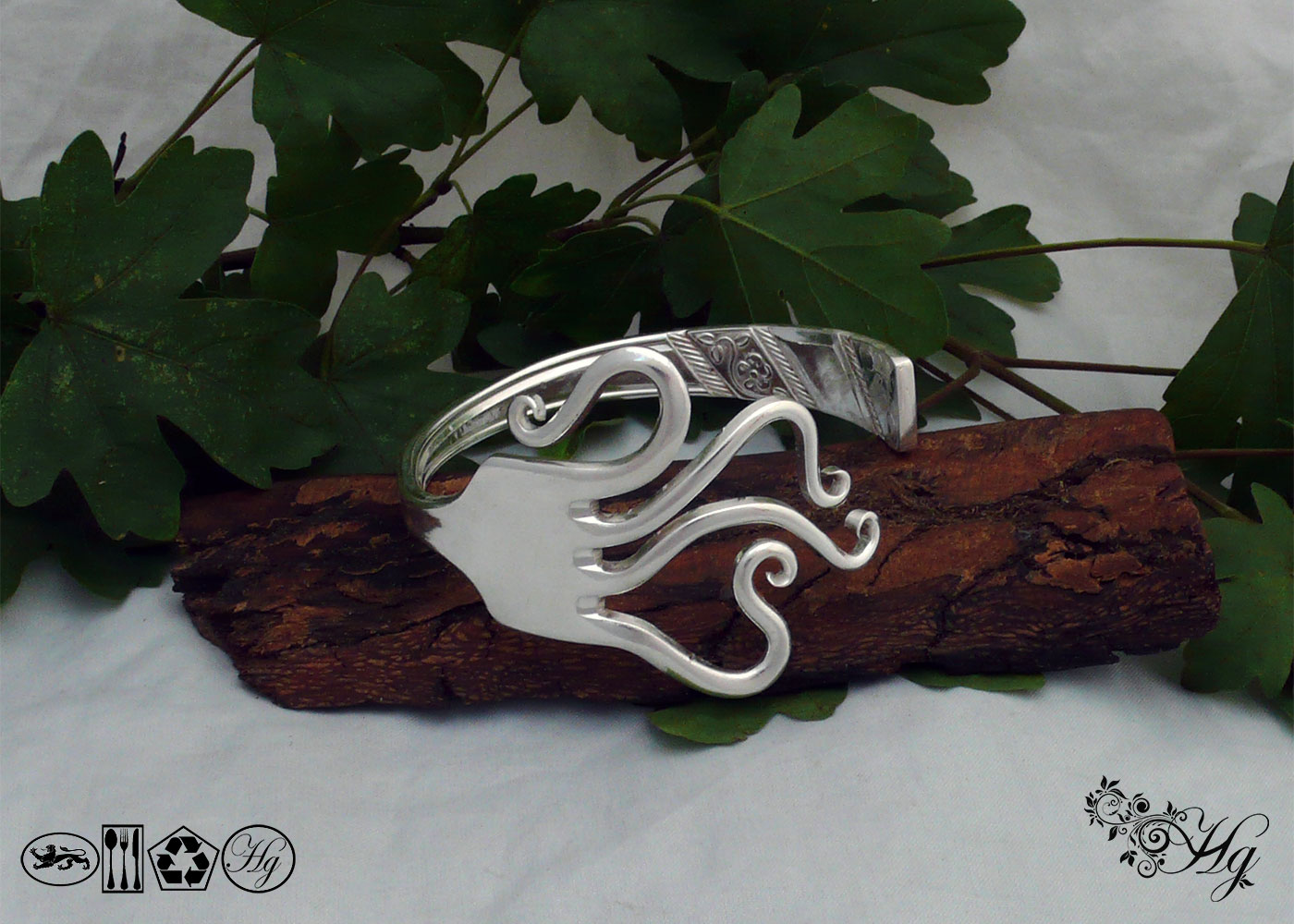 Handcrafted and recycled summer swirls bangle